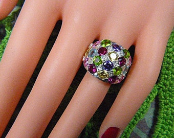 Vintage 925 Sterling Silver Ring With Multicolor Rhinestones - Size 5.5 - R-481 - 925 Ring - Rhinestone Ring - Sterling Ring