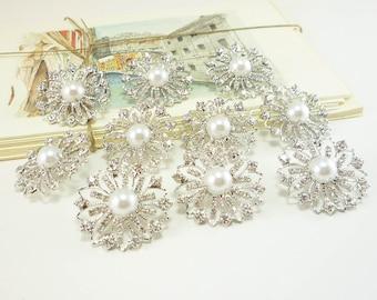 Pearl Flower Rhinestone Button - Crystal Flower, Silver Metal button (30mm, 10pcs)