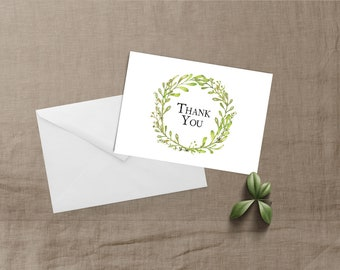 Gilded Finch Greenery Succulent Thank You Notecard Set