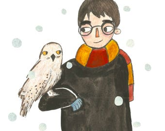 Harry Potter and Hedwig - Watercolour Print
