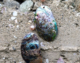 Abalone Earrings with Pale Pink Pearl