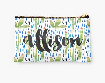 Personalized Cactus Pouch - choice of size, saguaro and prickly pear pouch, personalized makeup bag, monogrammed pouch, monogram