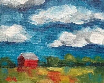 """Original painting """"Distant Red Barn I"""""""