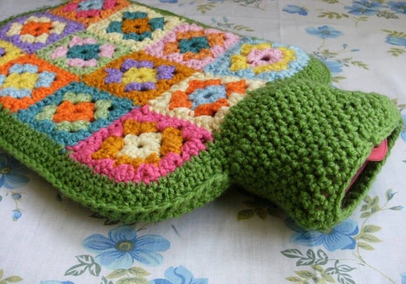 Granny Square Hot Water Bottle Cover Pattern Pdf Diy Hottie Cover By