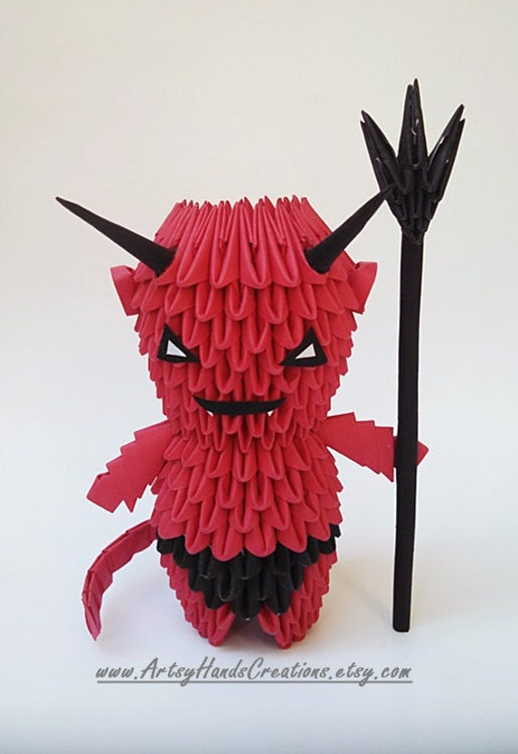Items Similar To 3d Origami Halloween Devil Handmade On Etsy