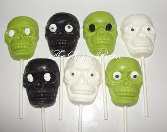 SKULL Chocolate Lollipops*12 Count*Halloween Party Favors*Day of the Dead Favor*Halloween Candy*Candy Skull*Beggar's Night*Sugar Skulls