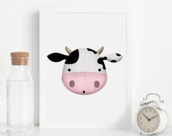 Cow Print, Nursery Cow Print, Nursery Farm Animal Wall Art, Farmhouse Decor, Downloadable Farm Animals, Nursery Farm  Decor, Kids Farm Print
