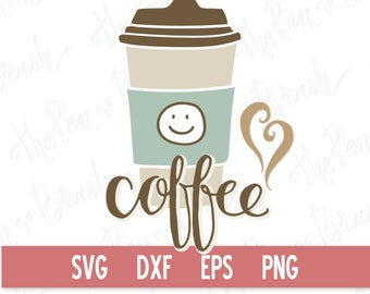 SVG Cut File: Cute Coffee // Caffeine // DXF Die Cut Files // Digital Graphics Download // Silhouette Cricut // Clipart // Commercial Use