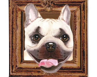 """French Bulldog Art Print on Canvas - Brown and Beige - French Bulldog Art - Frenchie in a Frame - 8"""" x 8"""""""