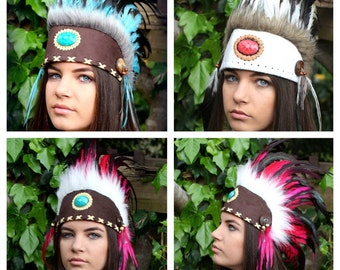 Adult/Child Unique Artisan Indian Headdress- Indian Costume- Native American Halloween Costume- Feathers ~ Drum Circles