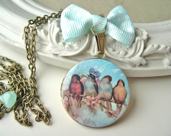 Bird king love love locket necklace pastel blue
