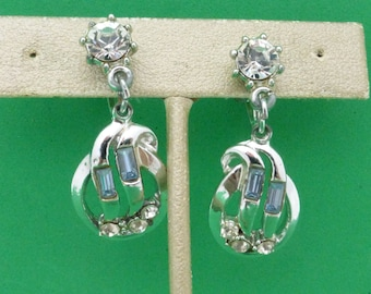 Silver tone screw back dangle earrings wit blue and clear rhinestones AL54