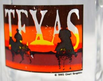 Vintage 1993 TEXAS Glass Mug Chert Graphics