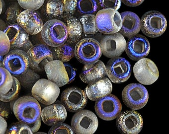 10gr 6/0 Czech Glass Seed Beads Etched, Etched Azuro Full (6SBE011)