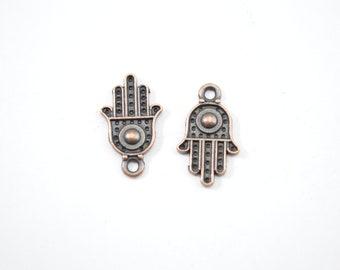 10pcs - Antique Copper Hamsa Hand Charms - Hand of Fatima - 20mm x 13mm - Bulk - Wholesale - Jewelry - DIY - Bracelet Charms - B7