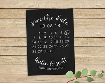 Save the Date Calendar, Save The Date Printable, Save The Date Card, Wedding Save The Date, Calendar Save The Date
