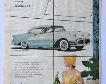 1956 Classic Oldsmobile Super 88 Holiday Coupe Magazine Ad Art - Plus Skol Suntan Lotion Ad