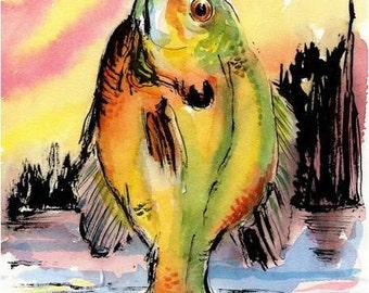 ORIGINAL Fish Watercolor Painting 7.5 X 10.5 Art Bluegill by Barry Singer