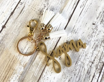 Sigma Keychain with 3 Mini Tassels   Gold or Silver Accent   Multiple Color Options   Sorority Keychain   Sorority Gift   Leather