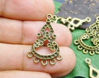 12 pc Antique Bronze Earrings Chandeliers Links -  Bronze Earrings Connectors -EF008