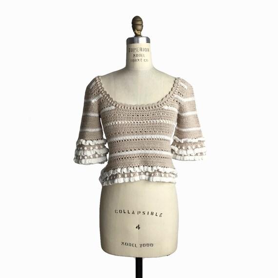 APIECE APART Knit Cotton Cropped Top in Tan & Ivory Stripe Ruffle - euc - US 4