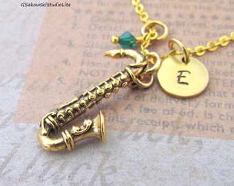 Saxophone Charm Necklace, Personalized Antique Gold Hand Stamped Initial Birthstone Monogram Alto Saxophone Charm Necklace