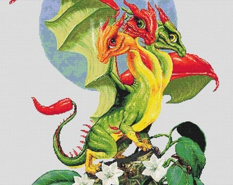 Peppers Dragon  - emailed PDF cross-stitch chart / pattern, original art © Stanley Morrison  licenced by Paine Free Crafts
