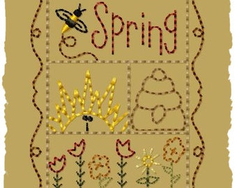 Primitive Machine Embroidery Design-Spring Sampler--Version 2--(4x4)-INSTANT DOWNLOAD