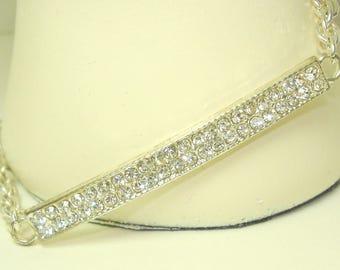 Silver Rhinestone Pave Bracelet