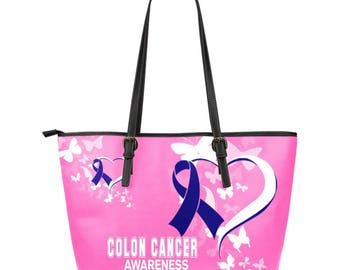Colon Cancer Awareness Leather Tote Bag