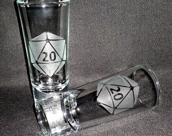 Gamer D20 Shot Glass Etched Shooter Shotglasses
