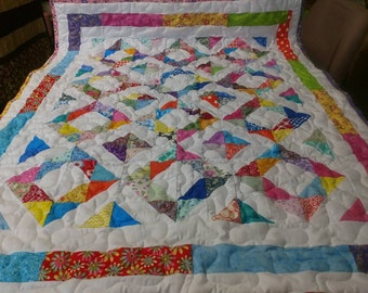 Handmade Pieced Boy Girl Scrappy Triangle Diamonds Baby Crib Lap Quilt Blanket Made in Arkansas Ozarks