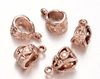 2pcs, 13.5x10.5x9.5mm, Column Hangers Links, Bail Beads, Rose Gold