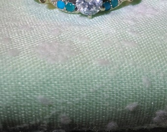 One of a kind Custom Diamond Turquoise Engagement Ring sz 7