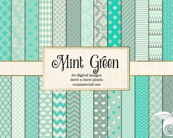 Mint Green Digital Paper, baby shower digital paper, green patterns backgrounds, scrapbook paper instant download commercial use