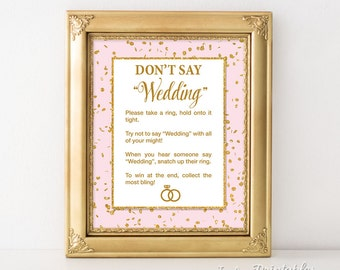 Don't Say Wedding Game Sign, Pink & Gold Glitter Confetti Wedding Shower Game, Bridal Game, INSTANT PRINTABLE