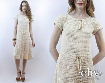Cream Crochet Dress Hippie Dress Hippy Dress Festival Dress Hippie Wedding Dress Boho Dress Knit Dress 1970s Dress 70s Dress Lace Dress XS/S