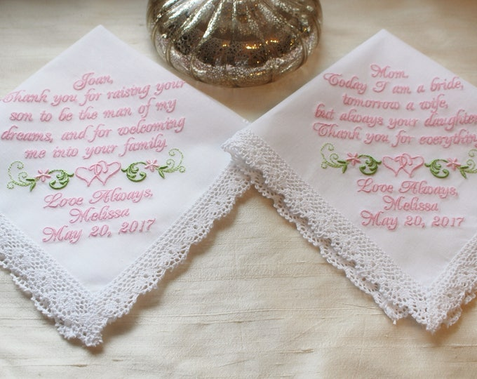 White or Ivory Lace Trimmed Mother of the Bride and Groom Wedding Handkerchief Set