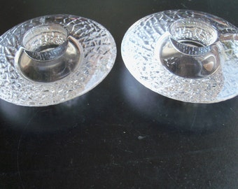 Orrefors Sweden Pair Of Candle Holders