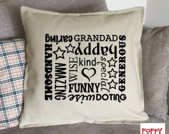 Grandad Gift, Grandad Pillow Cover, Grandad Cushion, Grandfather Gift, Father's Day Gift, Custom Pillow, Decorative Pillow, Throw Pillow.
