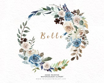 Watercolor Floral Wreath - Belle. Perfect flower arrangement for stationery and cards.