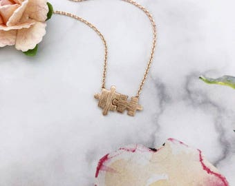 Rose Gold Puzzle Dainty Necklace