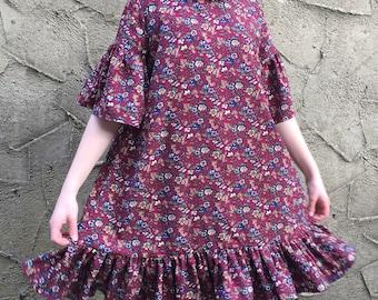 Handmade 'Hettie' Dress in Floral Crepe