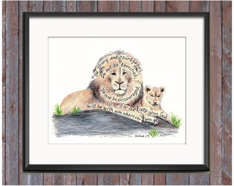 Lion and Cub Bible Verse art print, scripture design, hand lettered typography