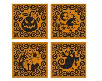 Halloween Silhouettes - set of 4 - Durene J Cross Stitch patterns - DJXS2226