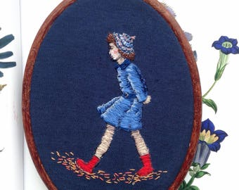 1940s Girl, Hand Embroidered Thread Painting