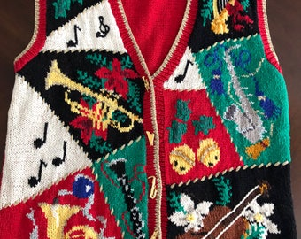 Fabulous Vintage Ugly Christmas Sweater Vest, Musical Themed, Gold Instrument Buttons, Men's Or Woman's M-L, Tacky!