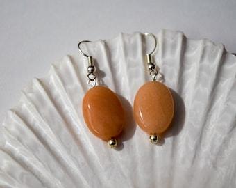 Orange Gemstone Earrings | Orange Earrings | Gemstone Earrings