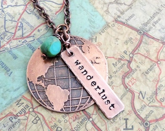 Wanderlust Necklace - Globe Necklace - Travel Gift - Wanderlust Jewelry - Travel Jewelry - Adventure - Gift for Travelers - Etched Globe