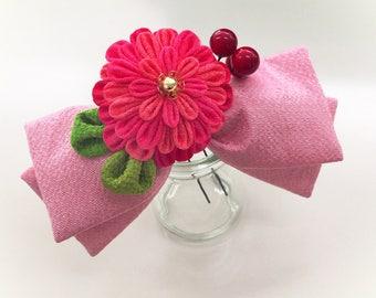 Ribon Knob Hair Ornament (pink ribbon)